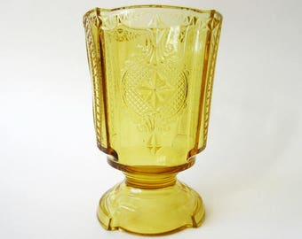 Antique Amber Glass Spooner or Celery Vase
