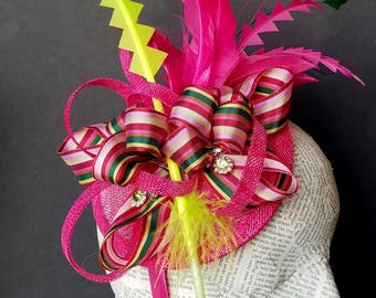 Bright Pink and Green Firecracker Holiday Hat:  Fascinator for Christmas, Church, Derby, or Mother's Day