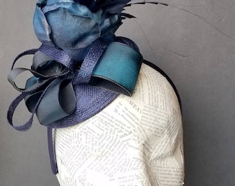 Deep Blue Rose Ladies' Hat: Fashion Hat for Holiday, Church, Derby, or Mother's Day