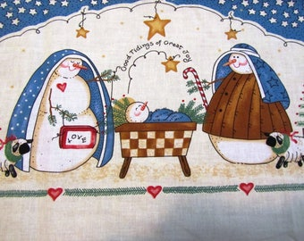 "SNOWMAN NATIViTY BORDER FABRiC Daisy Kingdom Vintage Cotton Fabric 43"" X 44"""