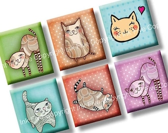 Cats scrabble tile size images 0.75x0.83 inch squares. Two 4x6'' Collage Sheets for scrabble size pendants. Digital download. Printables