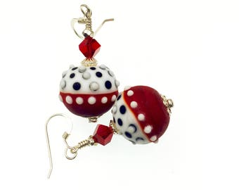 Handmade Lampwork Earrings, Etched Glass Bead Earrings, Red Dangle Earrings, Polka Dot Beaded Earrings, Lampwork Jewelry, Beadwork Earrings
