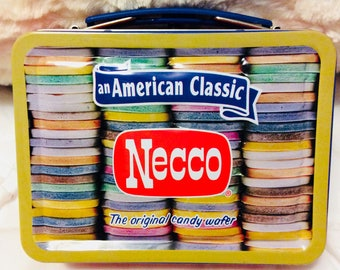 Vintage Necco Candy Tin Lunchbox small Americana Advertising