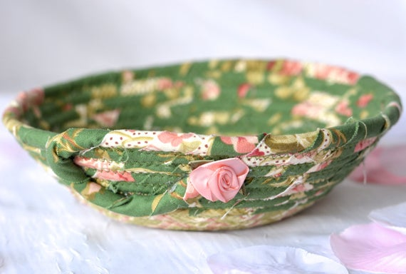 Shabby Chic Basket, Handmade Candy Dish Bowl, Shabby Chic Key Basket, Ring Dish Bowl, Green Desk Accessory, Easter Basket