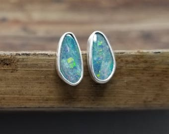 Opal Earrings Opal Stud Earrings Opal Studs October Birthstone Earrings Boulder Opal Jewelry Womens Gift for Women Holiday Gift for Her