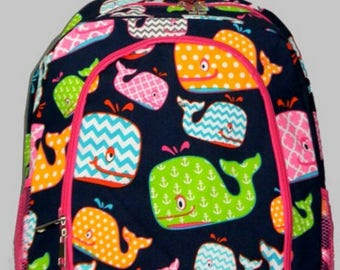 Personalized  Girls Whales Backpack,  Girls Whalel Backpack, Girls Backpack, Monogrammed Backpack, Embroidered Backpack