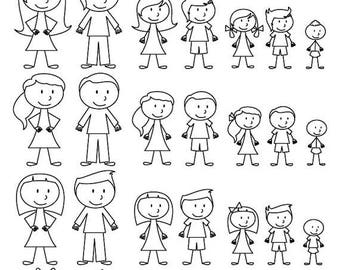 BACK TO SCHOOL Sale Stick Figure Clipart Clip Art, Stick People Family and Pets Clipart Clip Art - Commercial and Personal Use