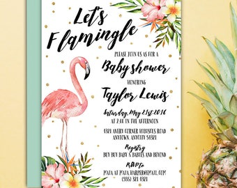 Let's Flamingle Pink Flamingo Baby Shower Invitation, Tropical Flamingo Hibiscus Floral It's a Girl Baby Shower Printable Invitation
