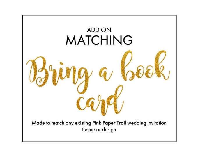 Bring a Book Add-On Insert Card to Match Any Baby Shower Party Invitation Theme or Design Printable Digital File