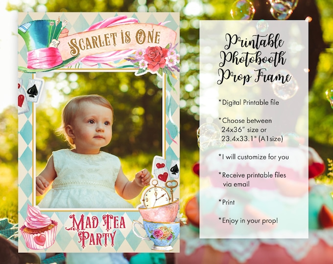 Alice in Wonderland Photo Booth Frame Props Floral Mad Tea Party for Birthday Baby Shower Bridal Shower Decoration Photo Prop