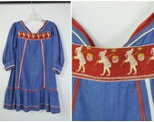 Late 1800s Early 1900s Girls Dress Tunic Style Blue Cotton Denim Like Fabric with Red Trim White Embroidery and Trim
