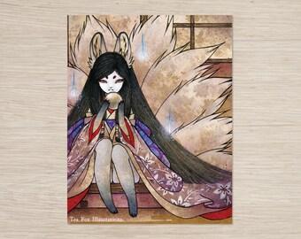 Hoshi no Tama / Ninetails Spirit, Fox Girl, Kitsune, Japanese Style Art / 11x14 Poster Print Wall Decor