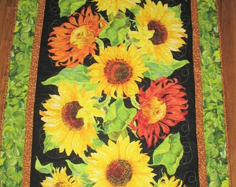 Sunflower Wall Hanging, floral, quilted, handmade, wall art, fabric from Wilmington Prints