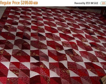 Sale Christmas in July Red and White king handmade scrappy quilt 112 x 112