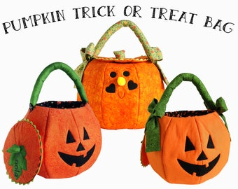 Pumpkin Trick or Treat Bag Personalized Halloween Treat Bag Quilted Fabric Halloween Bag  Halloween Candy Bag Custom Made Large