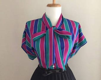 Vintage STRIPED Blouse + 1960s Blouse w Bow + Rockabilly Pin Up Top + Short Sleeve Shirt That Ties + Mad Men Shirt Ascot Pussy Bow Large XL