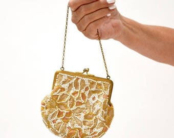 SALE VIntage Beaded Handbag Purse Bag// Vintage Art Deco Beaded Embroidered Evening Bag Coin Purse Wedding Bag White and Cream