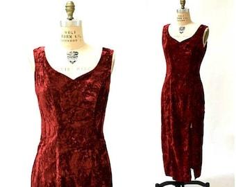 SALE 90s Party Prom Dress REd Crushed Velvet Large Burgundy Oxblood// 90s Vintage Red Velvet Evening Gown Long Dress Medium Large
