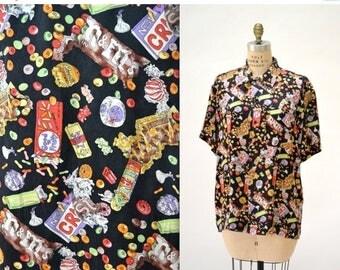 SALE 90s Vintage Silk Shirt with Candy Junk Food Print Nicole Miller Silk Shirt Candy Print  XS mens Medium Large Womens 90s Pop Art