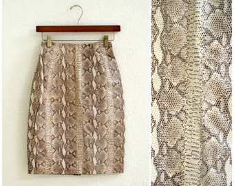 Vintage Leather Skirt Snake Skin Python Embossed leather skirt By Michael Hoban North Beach Leather Size XS Small