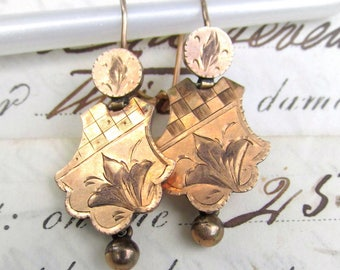 Antique EDWARDIAN Gold Plated Earrings Engraved Rose - All Original 1880s-1890s