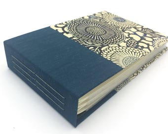 Mini Photo Album, Blue Mohair and Stenciled Mums, holds 36 4x6 photos, In Stock