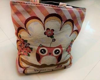 Lovely Pink Owl Handbag, Extra Large Canvas Tote Bag, Shoulder Bag, Beach Bag, Diaper Bag