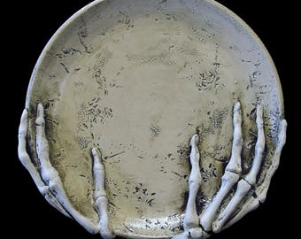 Holding up the Moon Skeleton Hand Plate