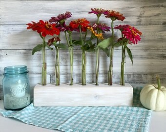 Test Tube flower Vase, long centerpiece, white farmhouse rustic decor, wedding decor, gift for friend