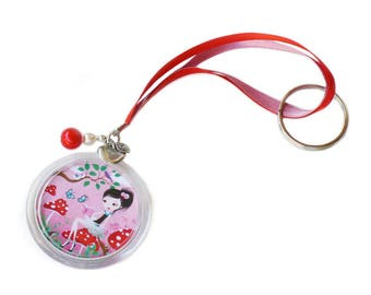 "Keychain ""Mushrooms storytellers"" pink, girl gift accessory"