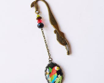 """Bookmarks deco """"Exotic"""", Parrot, tropical, island Mermaid, reading gift"""