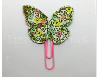 Beautiful floral butterfly Planner clip, bookmark, planner bow clip, bow bookmark, mint, olive, yellow, pink, white floral butterfly