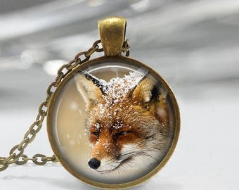 ON SALE Fox Necklace Winter Jewelry Woodland Animal Art Pendant in Bronze or Silver with Link Chain Included
