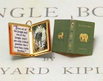 The Jungle Book by Rudyard Kipling - Miniature Book Shaped Charm Quote Pendant - for charm bracelet or necklace. Custom available!