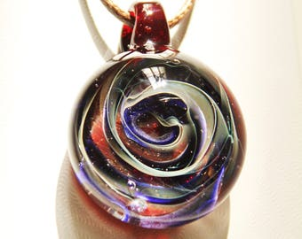 Heady Glass Pendant Necklace - Handmade Blown Glass Galaxy Pendant - Trippy Glass pendant - Birthday Gift - Boyfriend Gift - Girlfriend Gift