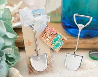 Set of 100 Silver SandShovel bottle opener Favors wedding, shower, beach theme, luau, Tropical Favor, Bar Bat Mitzvah, 50 Golden Anniversary