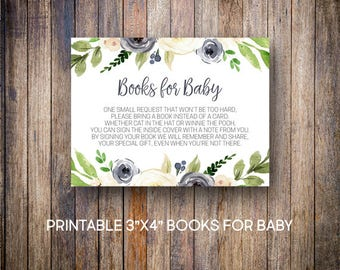 Navy Floral Books for Baby Cards, Watercolor Baby Books Cards, Books for Baby, Build a Baby Library, Navy, Green, Digital Download, 809