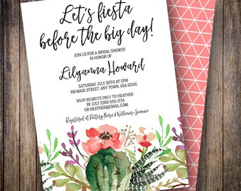 Fiesta Bridal Shower Invitation, Rustic, Cactus Bridal, Watercolor Flowers, Boho Wedding Shower, Succulents, Green, Coral, Purple, 909
