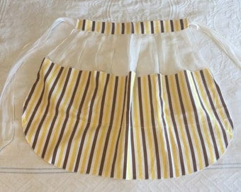 Yellow Striped Apron, Sheer Half Apron, Brown and white, Vintage Housewife