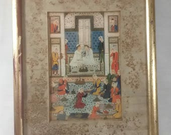 Pair Rudolf Lesch Fine Arts Inc 1939 Persian Miniature Moghul Framed Prints Court Scene Paper Backed Red Rubbed Gold