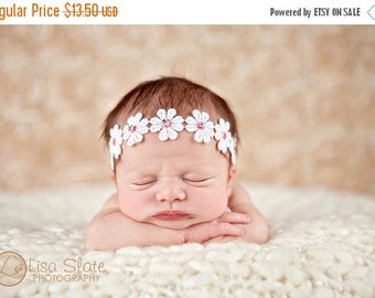 10% SALE Baby headband, newborn headband, adult headband, child headband and photography prop The rhinestone daisy tieback headband
