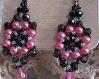 Be Jeweled Earrings - Hand sewn bead weaving
