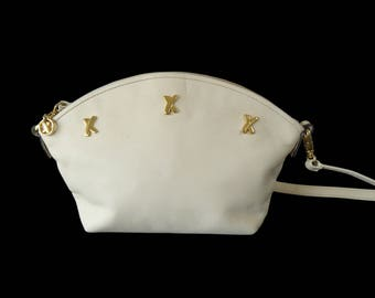 Paloma Picasso Small Zip Top Cream Leather Crossbody Shoulder Bag Made in Italy