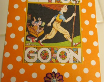 Upcycled Mary Englebreit post card -- Let Go, Go On
