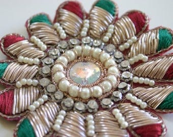 beautiful green red flower - Indian fabric and sequin Appliqué  (1)