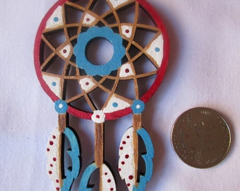 Dreamcatcher, double-sided hand painted laser-cut wood