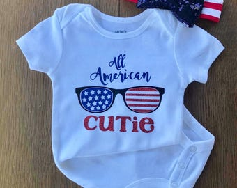 Patriotic Onesie & bow- all american cutie