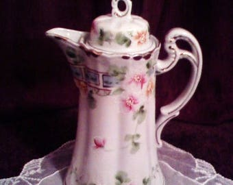HURRY ON SALE Antique China Porcelain Floral Chocolate Pot