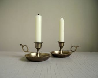 Etched Brass Chamberstick Candle Holders , Hand Worked India Brass Candlestick Holders , Vintage Candle Holders , Boho Decor