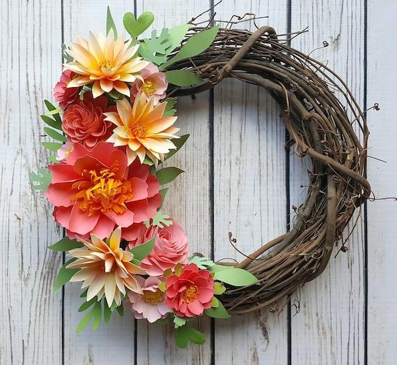 Paper flower wreath door wreath summer garden coral and orange il570xn mightylinksfo